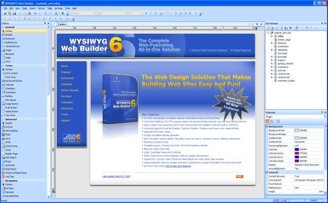 wysiwyg web builder screenshots